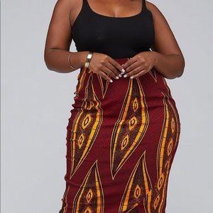 Bold African Printed High Waisted Midi Skirt